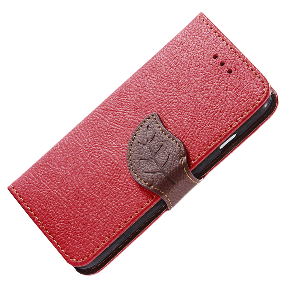 For-iPhone-6-6S-Plus-Cute-Leaf-Closure-Cover-Flip-Wallet-Case-Stand-amp-Card-Slot