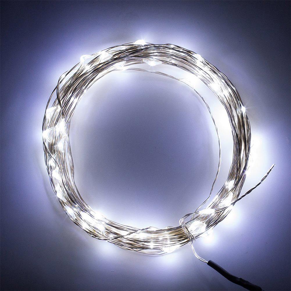 5m silber draht 50 led hochzeit kette drahtlichterkette lichterketten lampe fb7 ebay. Black Bedroom Furniture Sets. Home Design Ideas