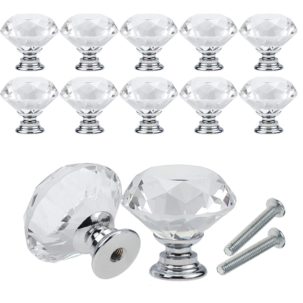 10x pomelli cassetti vetro trasparente cristallo maniglia ...