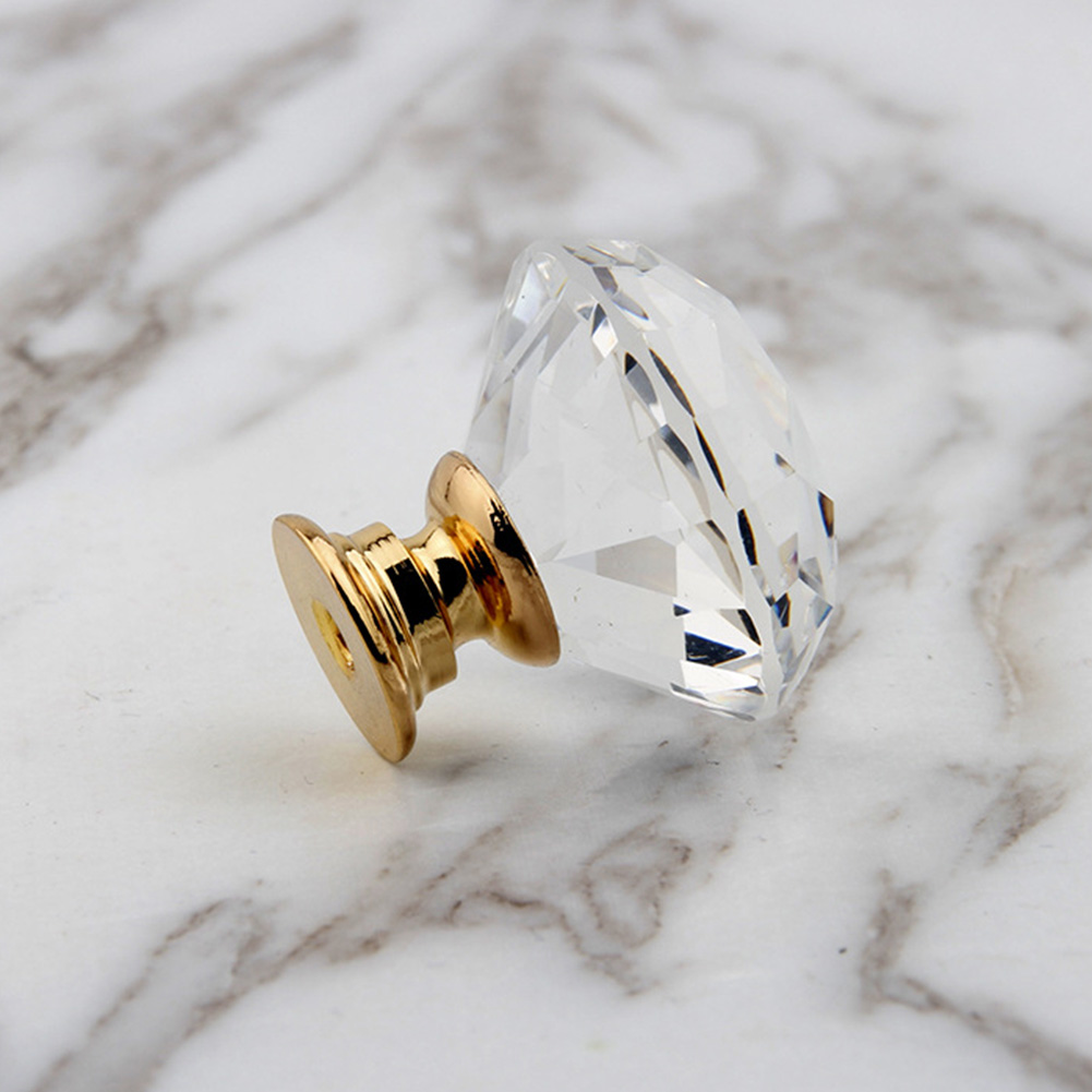 20-40mm Crystal Glass Knobs Cupboard Drawer Pull Cabinet Wardrobe Handle Lots F