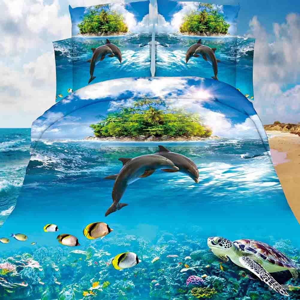 3D-Dolphin-Bedding-Set-Duvet-Quilt-Cover-Pillow-Case-Lifelike-Bedroom-Decor-6A1 thumbnail 38