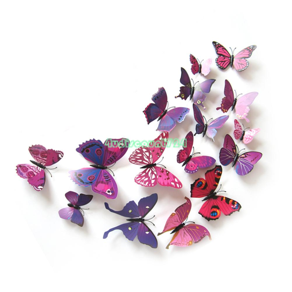 3d removable butterfly wall stickers flower diy decal art for Butterfly wall mural stickers