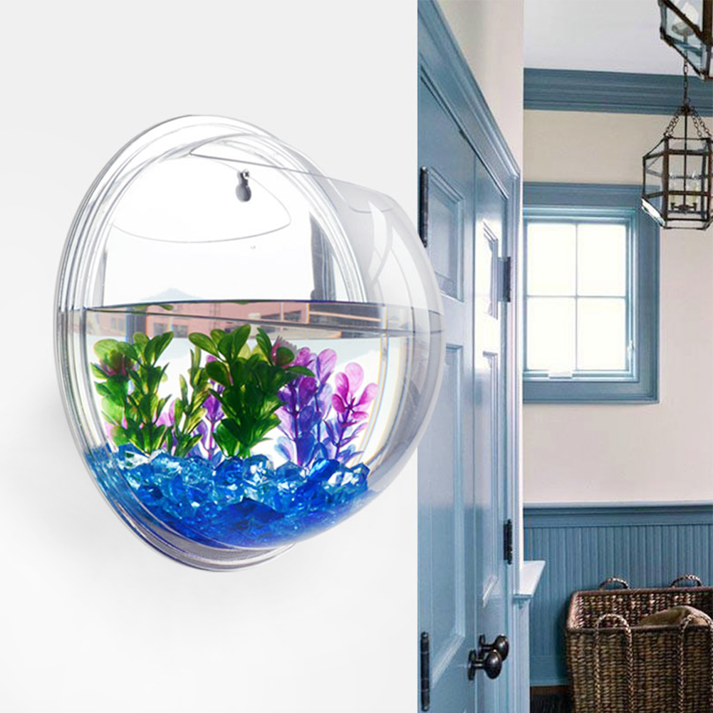 Wall Mount Hanging Fish Bubble Aquarium Betta Bowl Tank