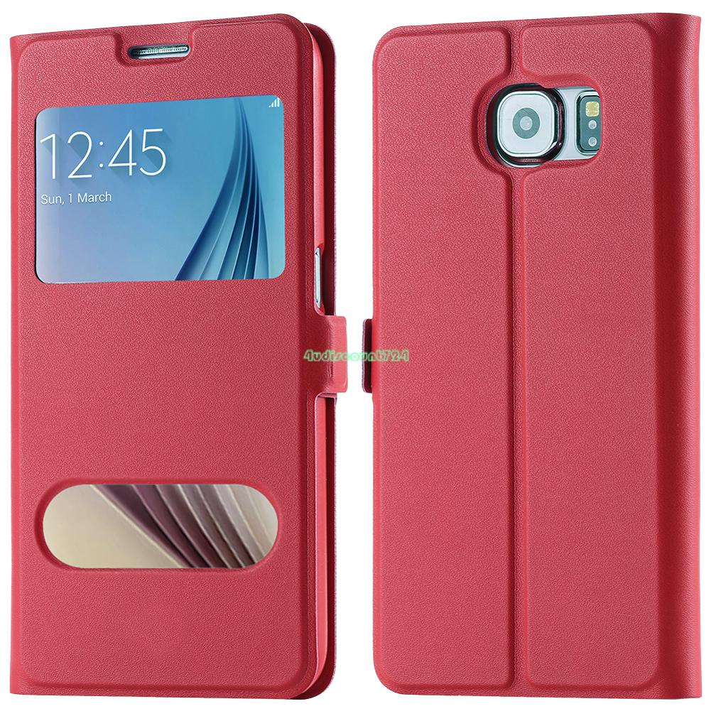 Genuine Pure View Leather Smart Window Cover Case For Samsung Galaxy S5/S6 Edge