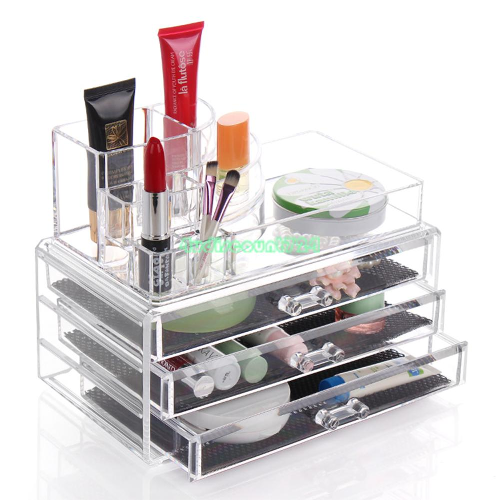 clear makeup case drawers cosmetic organizer jewelry. Black Bedroom Furniture Sets. Home Design Ideas