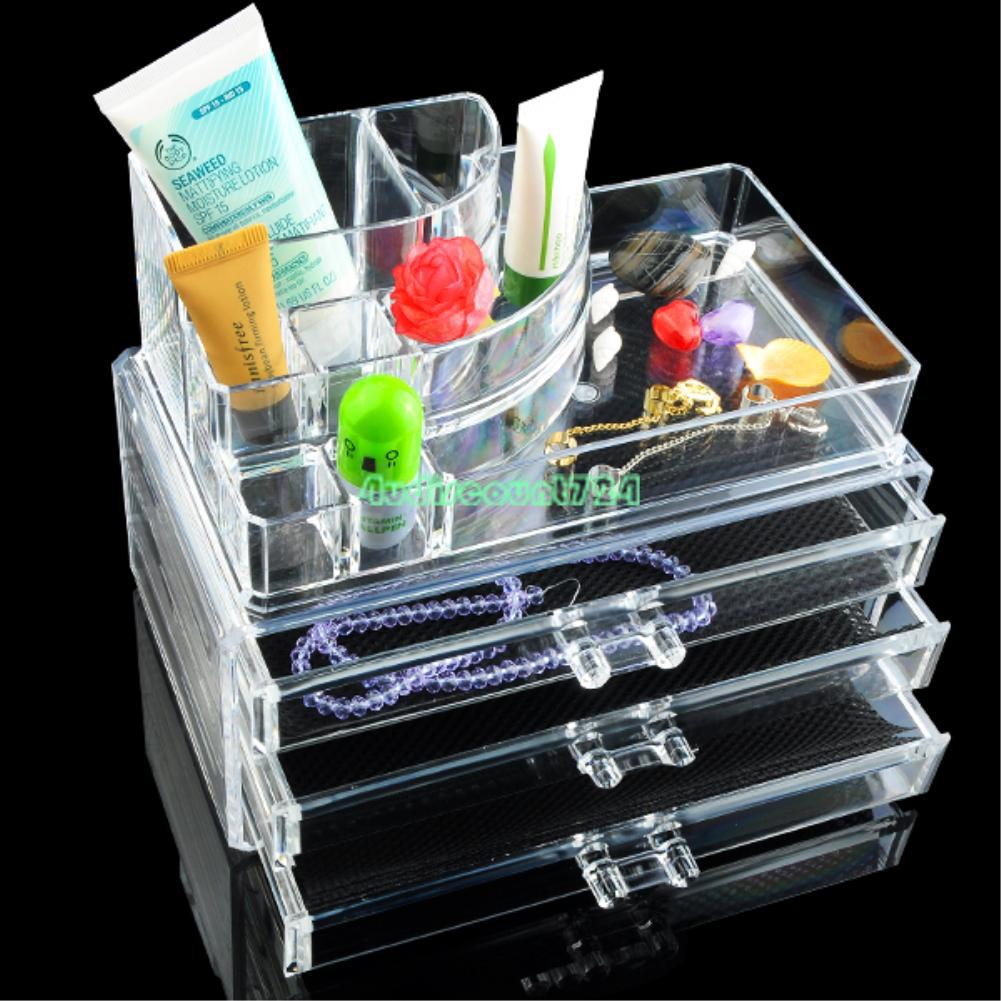 CLEAR ACRYLIC MAKEUP COSMETIC ORGANIZER CASE DRAWERS JEWELRY STORAGE BOX HOLDER | eBay