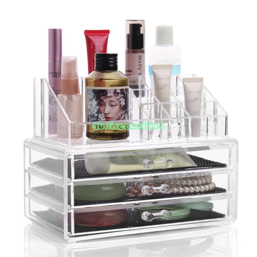 Clear Makeup Case Drawers Cosmetic Organizer Jewelry Storage Acrylic Cabinet Box   eBay