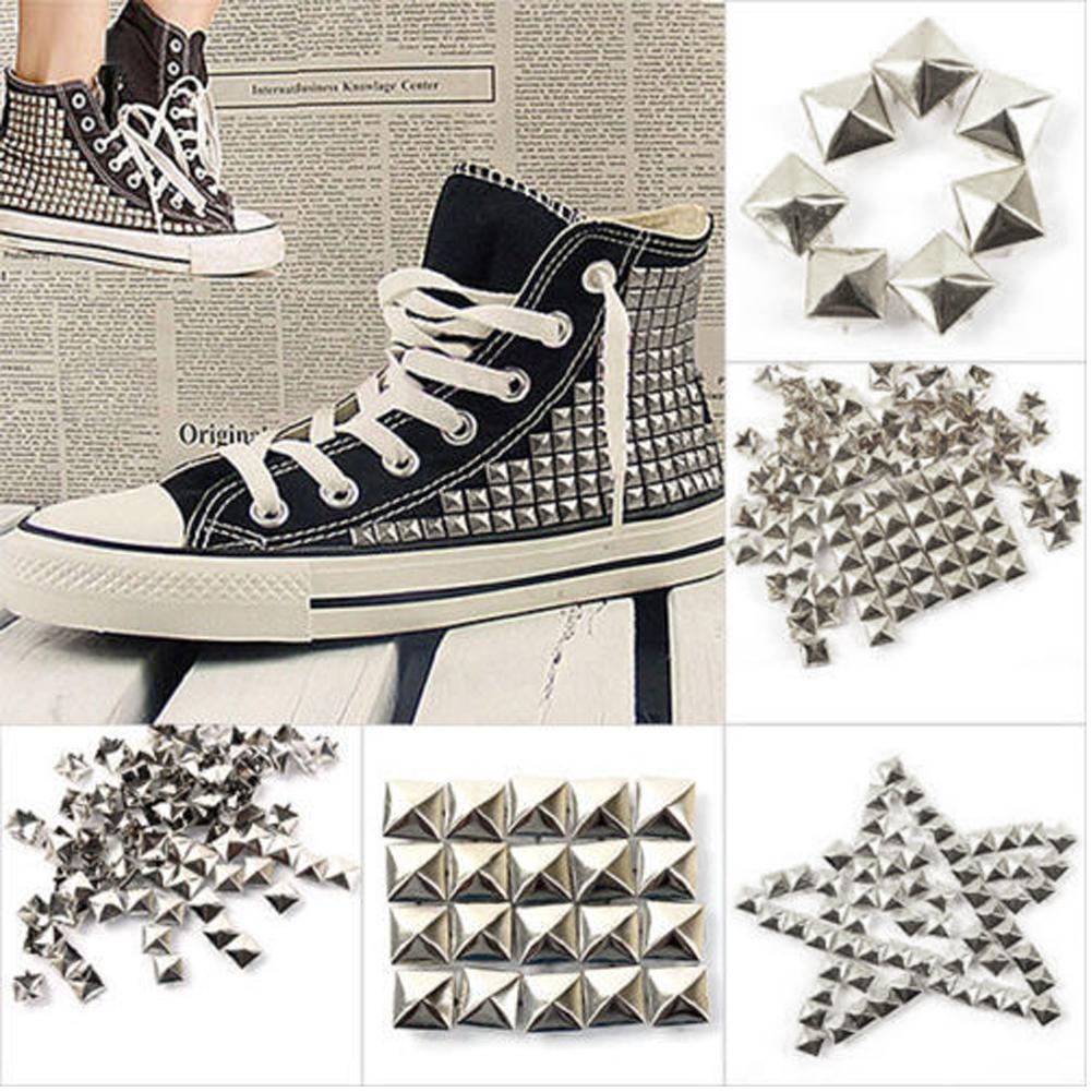 1000X Pyramide Rivets Rock Design pointes Spots Heavy Duty Bricolage Cuir Artisanat 0B25