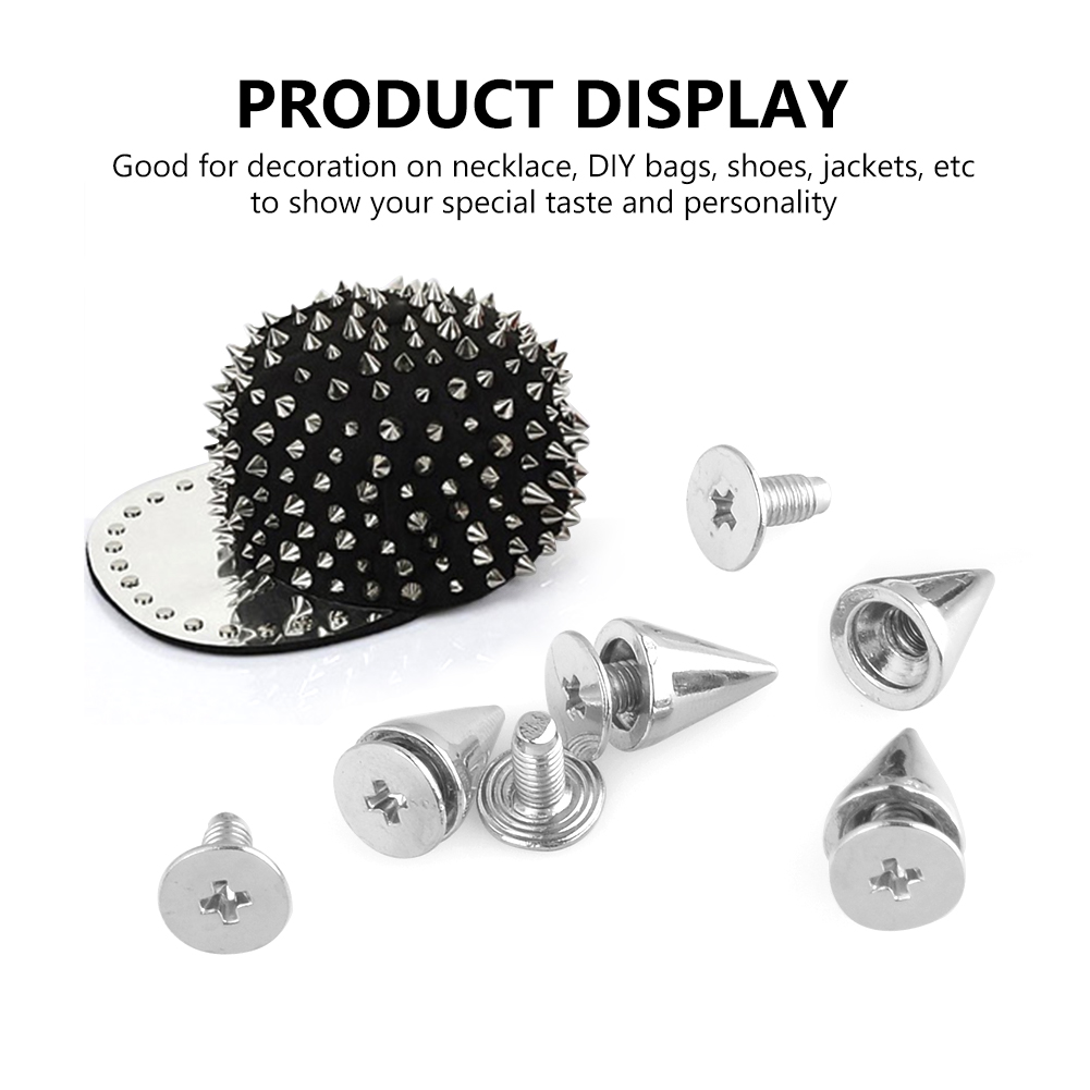 10//20//50//100Pcs Metal Studs Rivet Bullet Spike Cone Screw For Leathercraft DIY