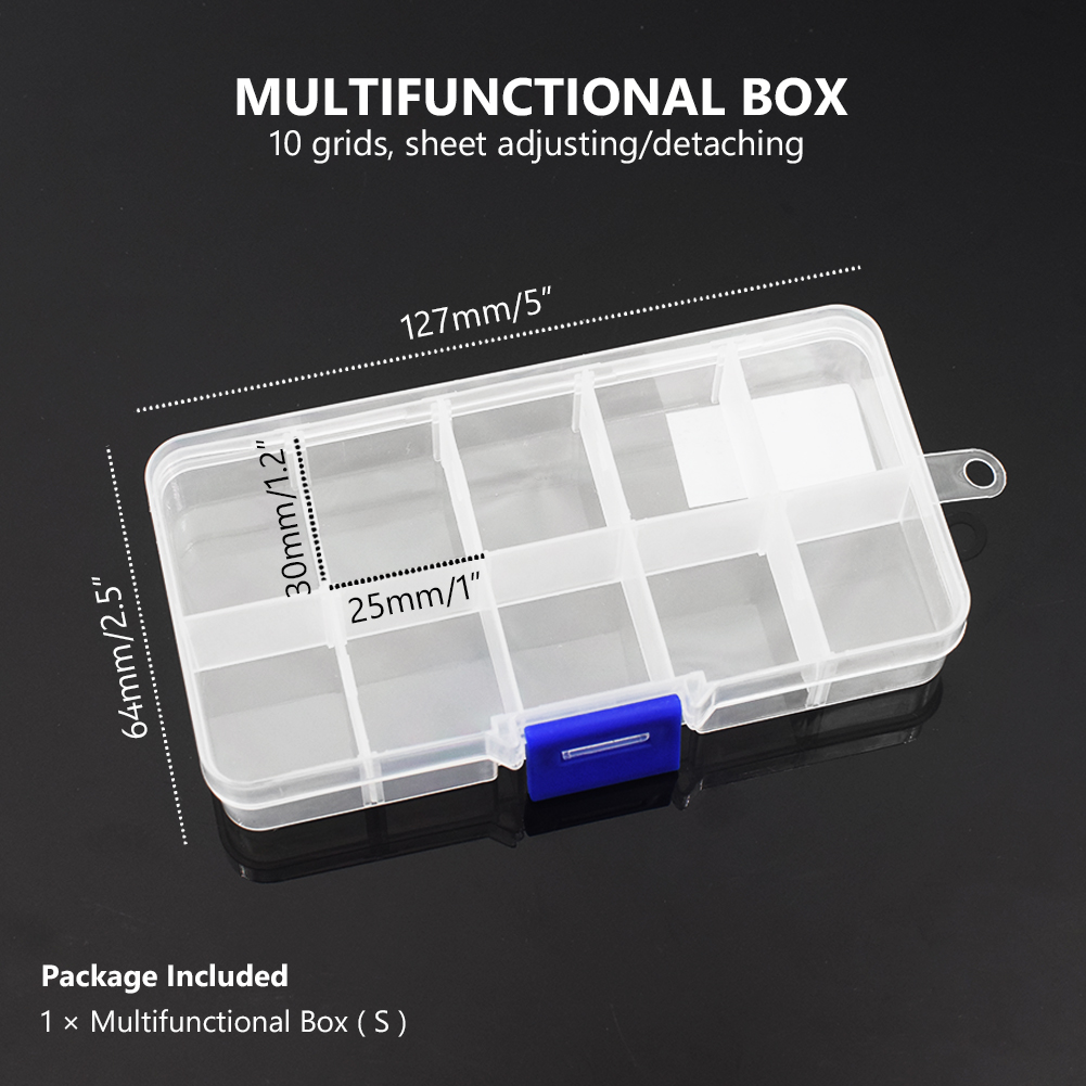 Plastic 10//15//24 Slots Adjustable Jewelry Storage Box Case Craft Organizer 226B