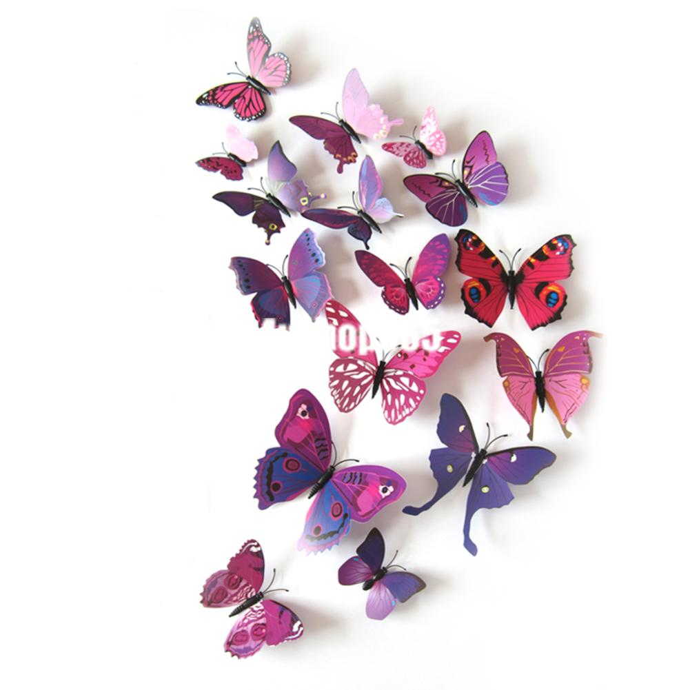 12pcs colorful butterfly wall stickers 3d festival wedding 3d luminous single wing butterfly wall stickers in
