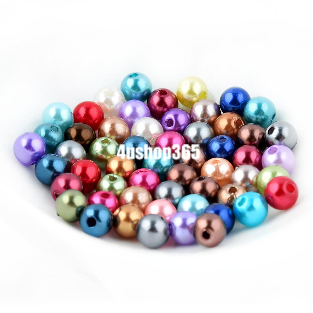 Artificial Pearl Round Loose Beads ( 100 - 4mm ) ( 50 - 6mm ) Mutiple Colors