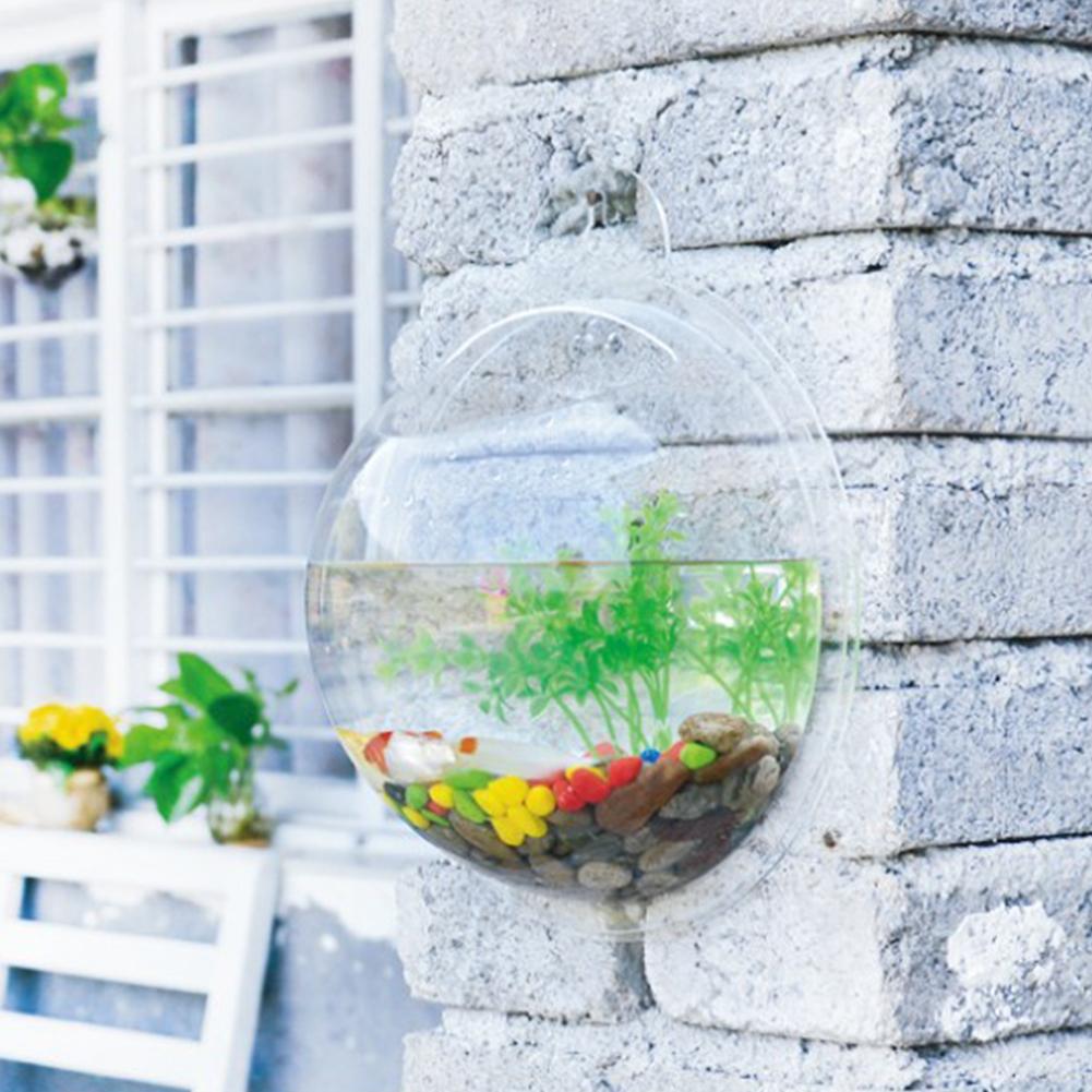 Novel wall mount betta bowl acrylic aquarium fish tank for Fish tank planter