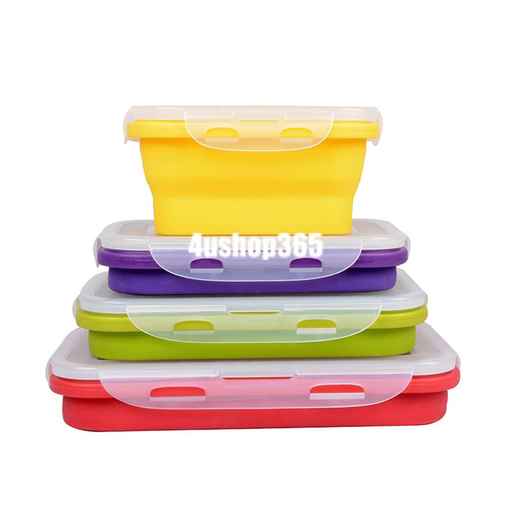collapsible portable lunch box fruit food container bento box microwave safe 07 ebay. Black Bedroom Furniture Sets. Home Design Ideas