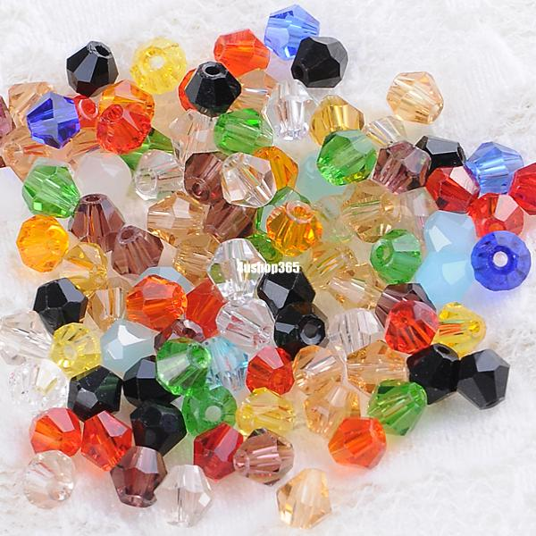 100 PCS MINI 4MM CRYSTAL GLASS FACETED BEADS RONDELLE JEWELLERY MAKING COLORFUL