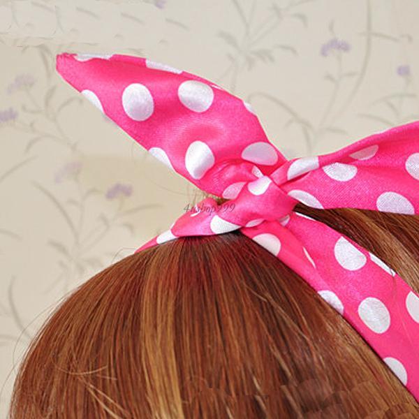 Fashion Multi Colors Lovely Dot Wire Bunny Rabbit Ear Ribbon Hairband Head Band