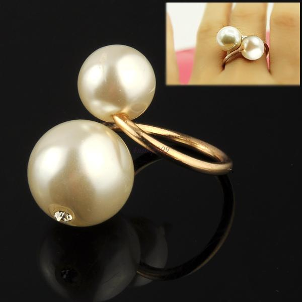 Fashion Ring Charm Elegant Oversized Faux White Double Pearl Finger Ring Jewelry