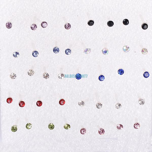 cute clear heart cross star moon allergy free pin ear studs stud earrings lot
