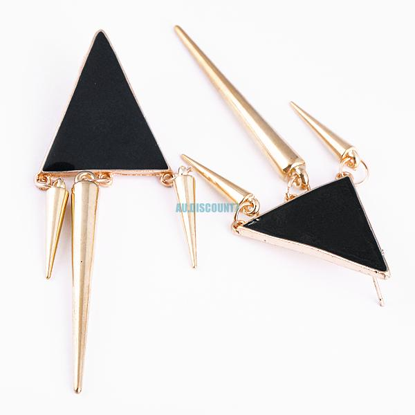 cool punk design geometric triangle alloy ear studs tassel earrings 1 pair