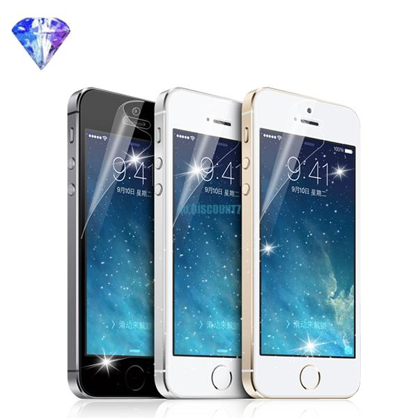 glitter clear lcd screen film cover protectors + cloth for apple iphone 4s 5s