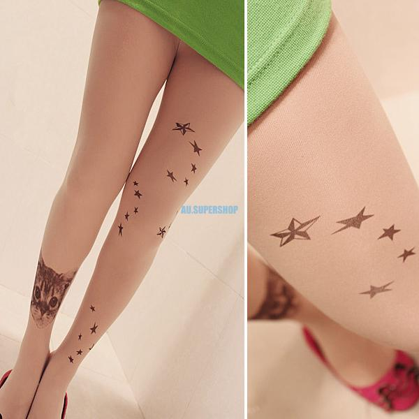 Fashion Women's Sexy Sheer Transparent Pantyhose Tights Tattoo Socks Stockings