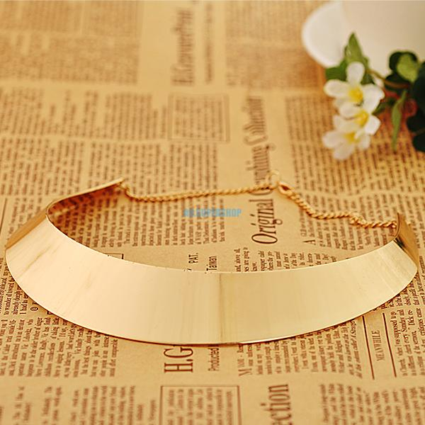 Trendy Women Gold Silver Tone Curved Mirrored Metal Choker Collar Bib Necklace