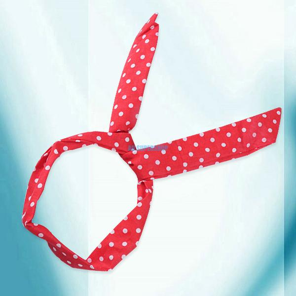 Multi Colors Lovely Fashion Dot Wire Bunny Rabbit Ear Ribbon Hairband Head Band