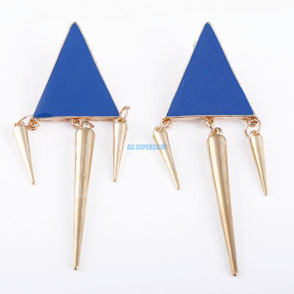 Cute Candy Color Gold Tone Triangle Tassel Stud Pin Earrings Dangle Rivets