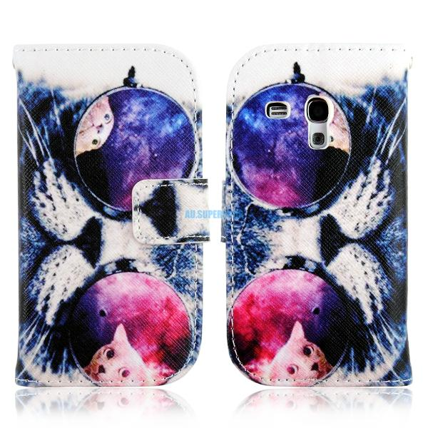 For Samsung Galaxy S3 Mini Leather Wallet Magnetic Flip Stand Case Cover Skin