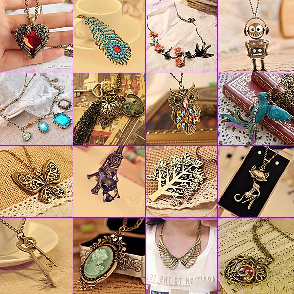 Fashion Elegant Gorgeous Metal Sexy Cat Multi Crystal Pendant Chain Necklace