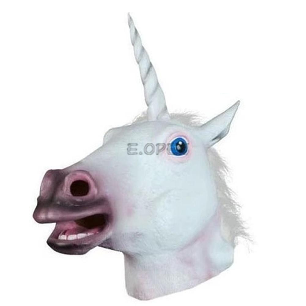 Cosplay Halloween Horse Head Mask Latex Animals Zoo Party Costume ...