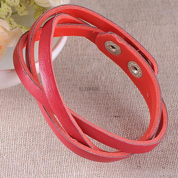 Women Men Stylish Wristband Faux Leather Braided Bangle Bracelet Wrist Chain
