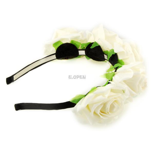 handmade bride floral crown rose headband flower hair garland festival wedding