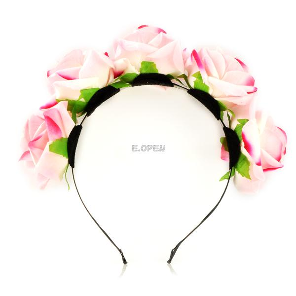 WOMEN FLORAL FLOWER HEADBAND HEADDRESS CROWN HAIR BAND WREATH WEDDING DECORATION
