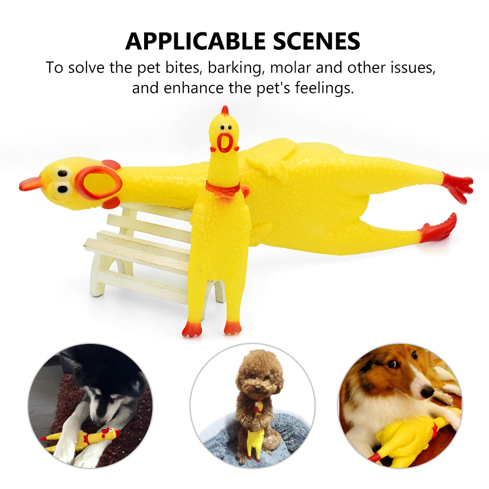 funny dog toys rooster crows attract puppy cat pet screaming rubber chicken 6C1