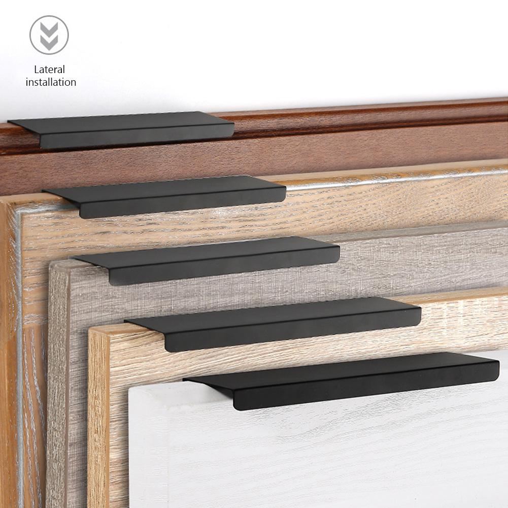 Black Mount Finger Edge Pulls Concealed Handles For Kitchen Door Drawer Cabinet Ebay