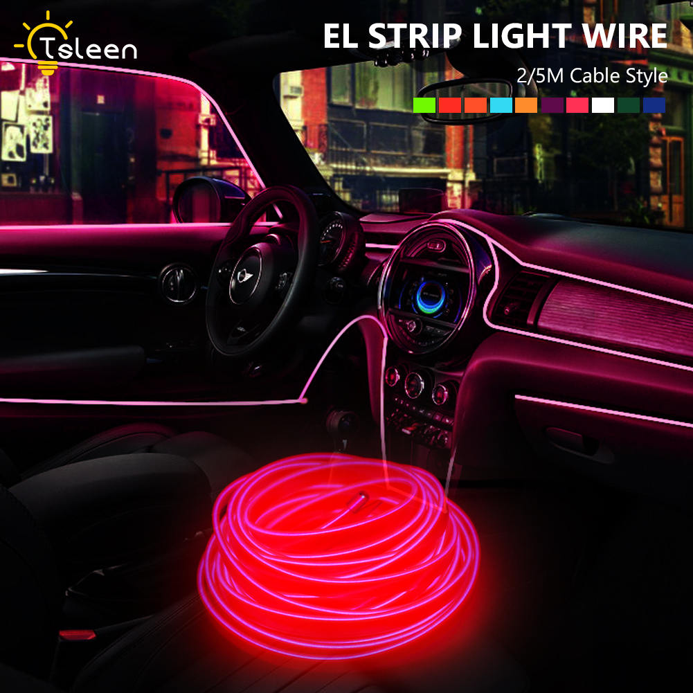 Flat-EL-Wire-Neon-Light-Strip-2m-5m-With-Inverter-For-Costume-Stage-Car-Decor-F thumbnail 2