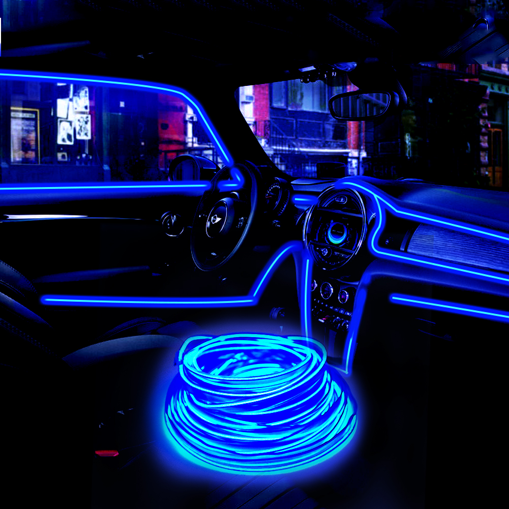Flat-EL-Wire-Neon-Light-Strip-2m-5m-With-Inverter-For-Costume-Stage-Car-Decor-F thumbnail 8