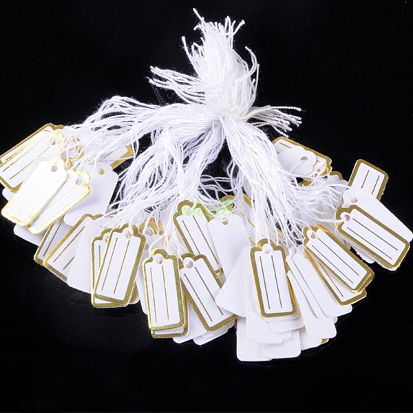 PACK 500PCS STRING TIE ON PRICE LABELS RETAIL TAG PAPER PRICE JEWELRY TAGS 4260