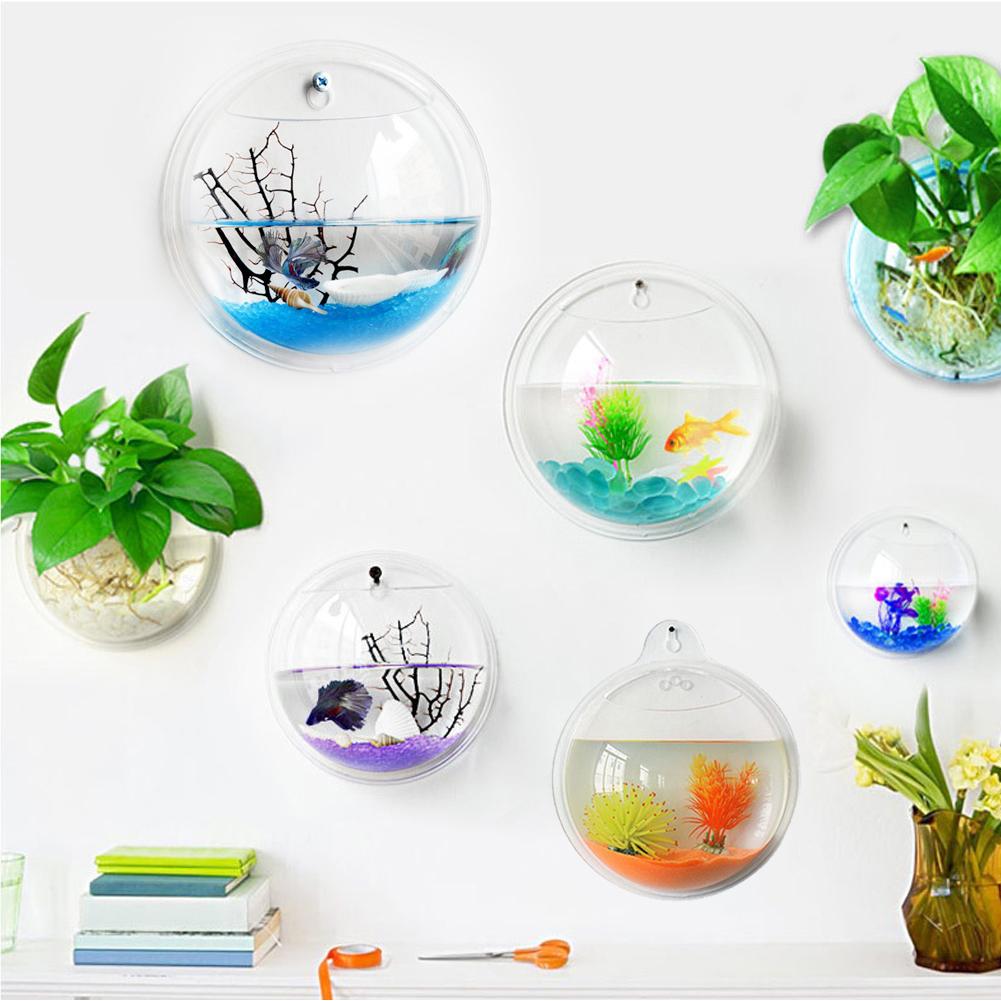 Novel wall mount betta bowl acrylic aquarium fish tank for Fish bowl with plant on top