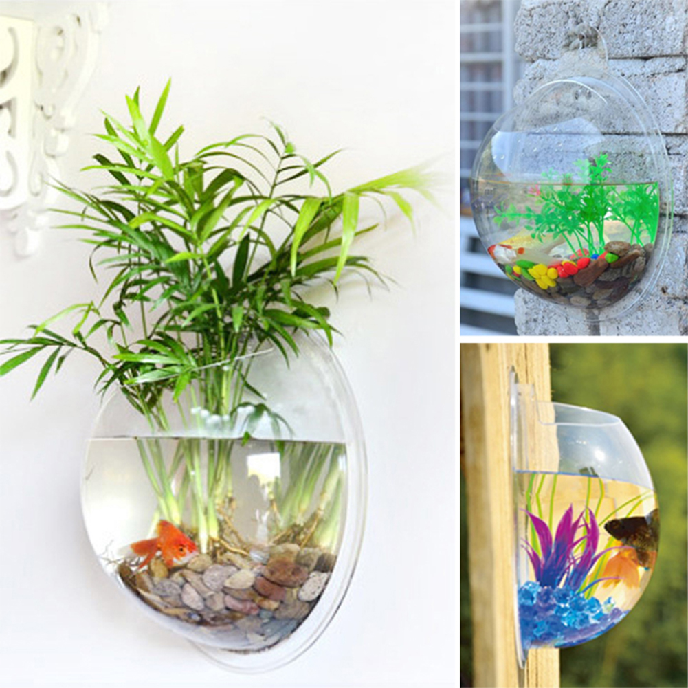 Fish tank home afforest bowl bubble pot wall hanging mount for Wall hanging fish tank