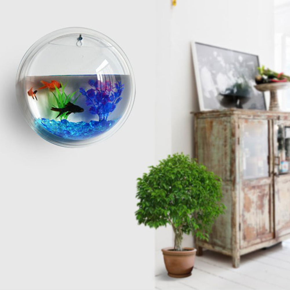 Fish tank home afforest bowl bubble pot wall hanging mount for Bubbles in betta fish tank