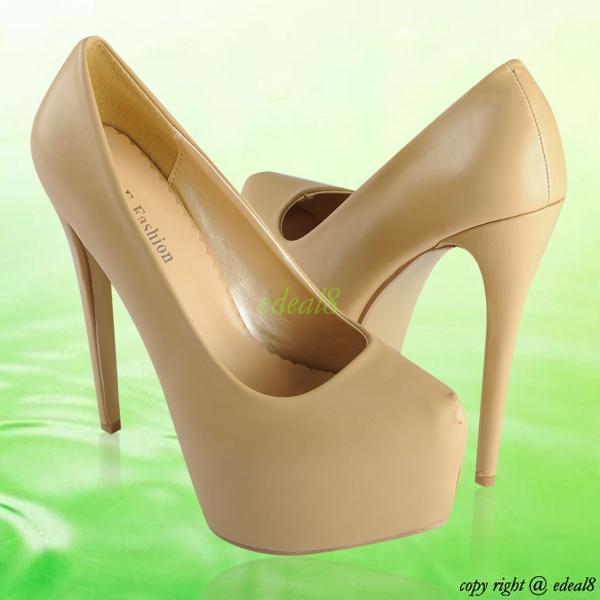 Womens Ladies Platform Pumps Stiletto High Heels Matte PU Prom