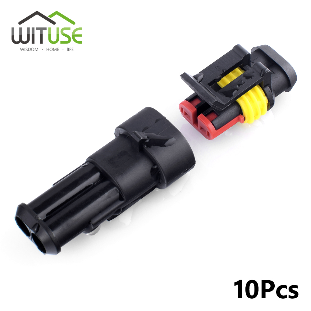 10x 1/2/3/4/6 pin sealed waterproof electrical wire connector plug ...