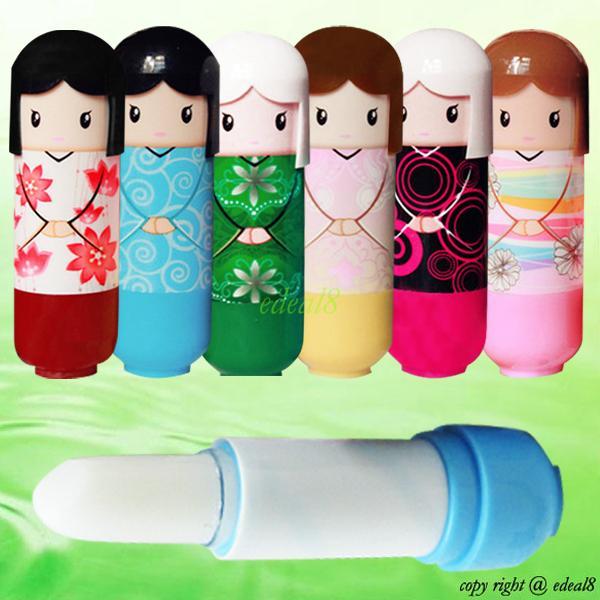 1x Lovely Kimono Doll Pencil Pattern Colorful Girl Makeup Lip Balm Lipstick Gift