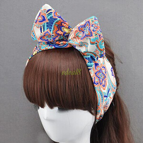 Sweet Bunny Rabbit Ear Ribbon Metal Wire Headband Scarf Head Hair Band 33 Colors
