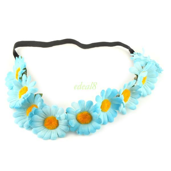 Bohemian Garland Floral Daisy Chain Beach Girls Elastic Hairband Headband Party