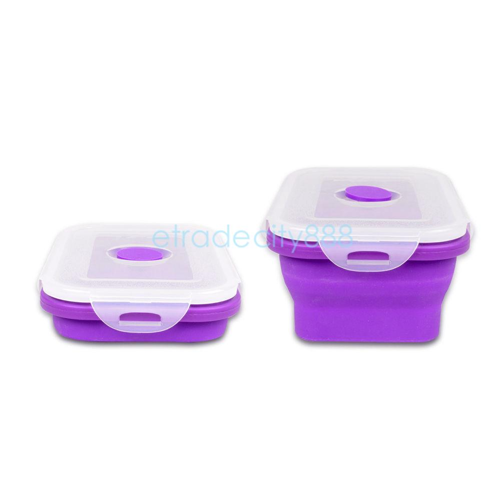 collapsible portable lunch box fruit food container bento box microwave safe. Black Bedroom Furniture Sets. Home Design Ideas