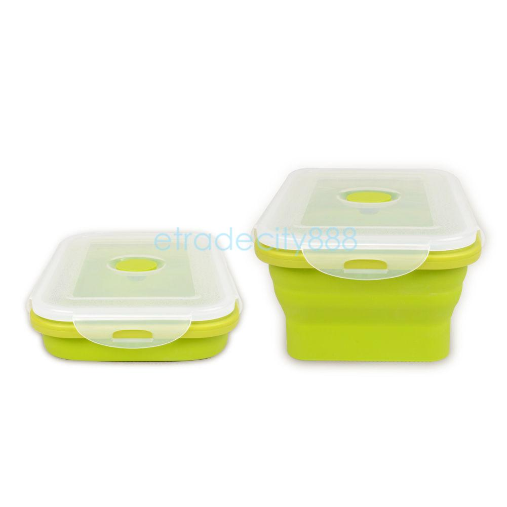 collapsible portable lunch box fruit food container bento. Black Bedroom Furniture Sets. Home Design Ideas