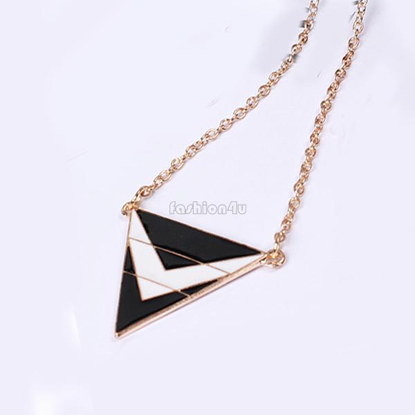 womens triangle geometry long pendant sweater chain necklace fashion jewelry